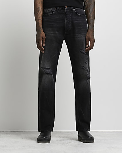 Black baggy fit ripped jeans