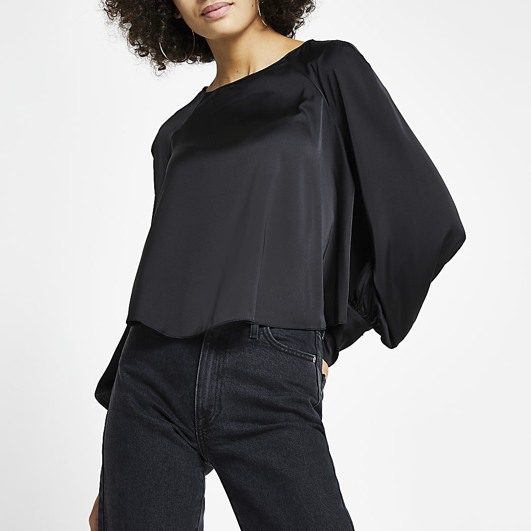 Black balloon sleeve blouse top