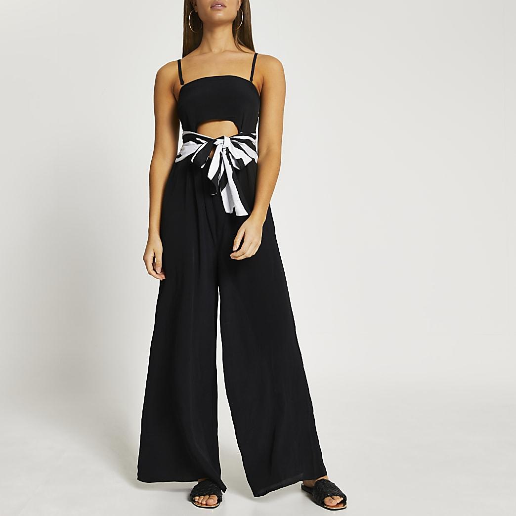 Black bandeau belted cut out jumpsuit