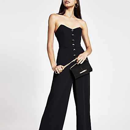 Black bandeau button front jumpsuit