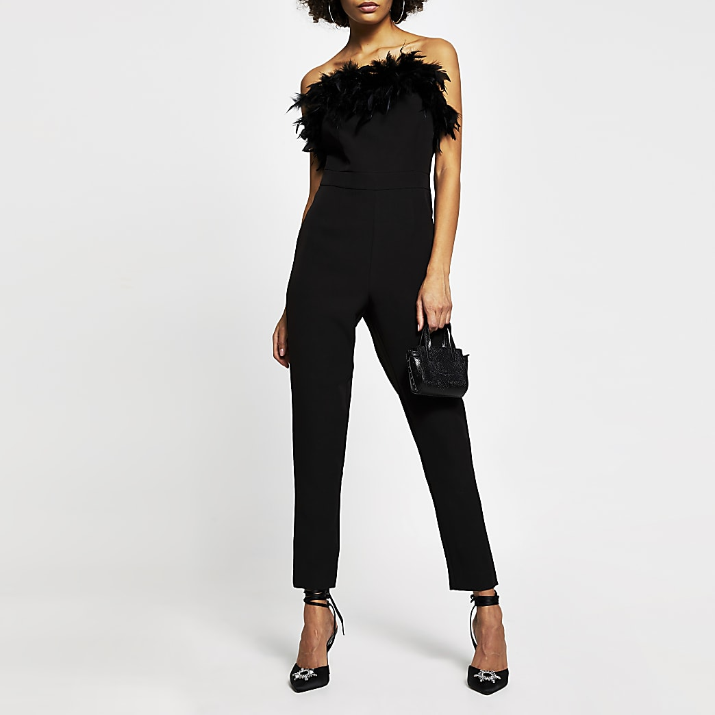 Black bandeau feather tapered jumpsuit