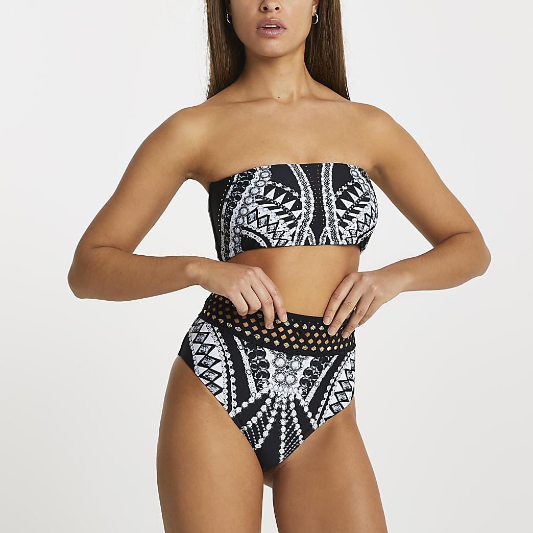 Black bandeau geometric print bikini top