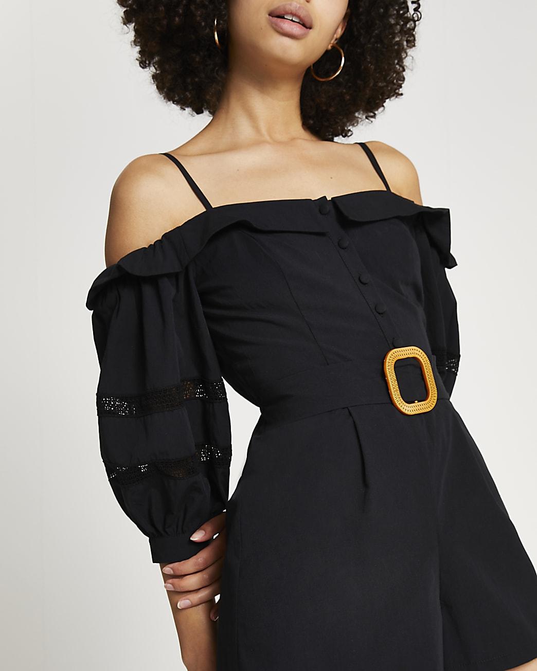 Black bardot belted lace trim playsuit
