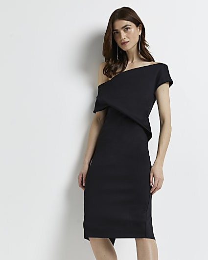 Black bardot bodycon dress