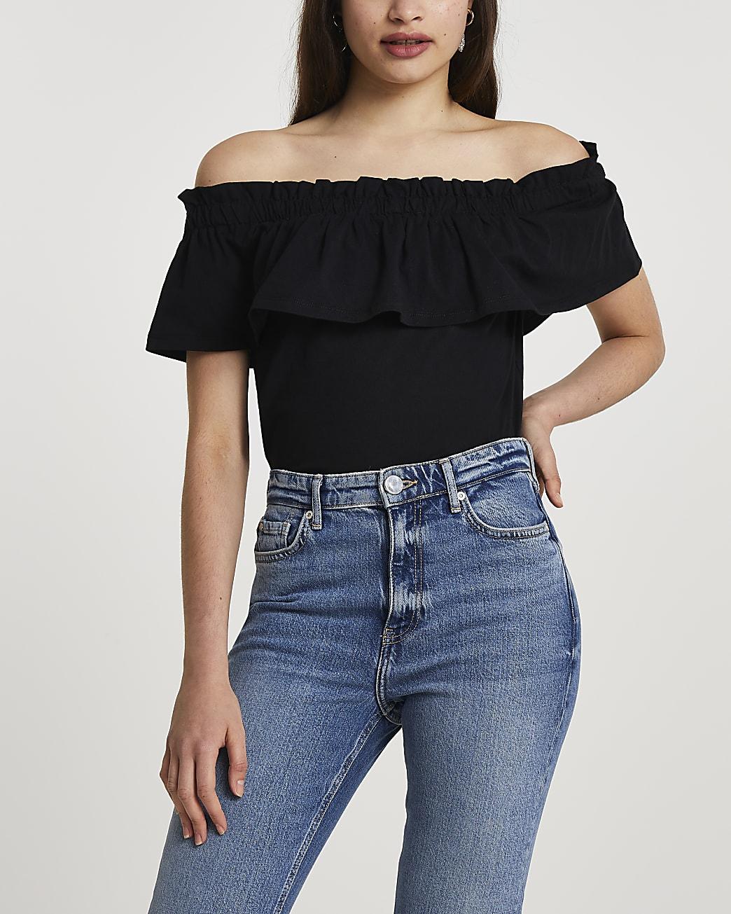 Black bardot frill front top