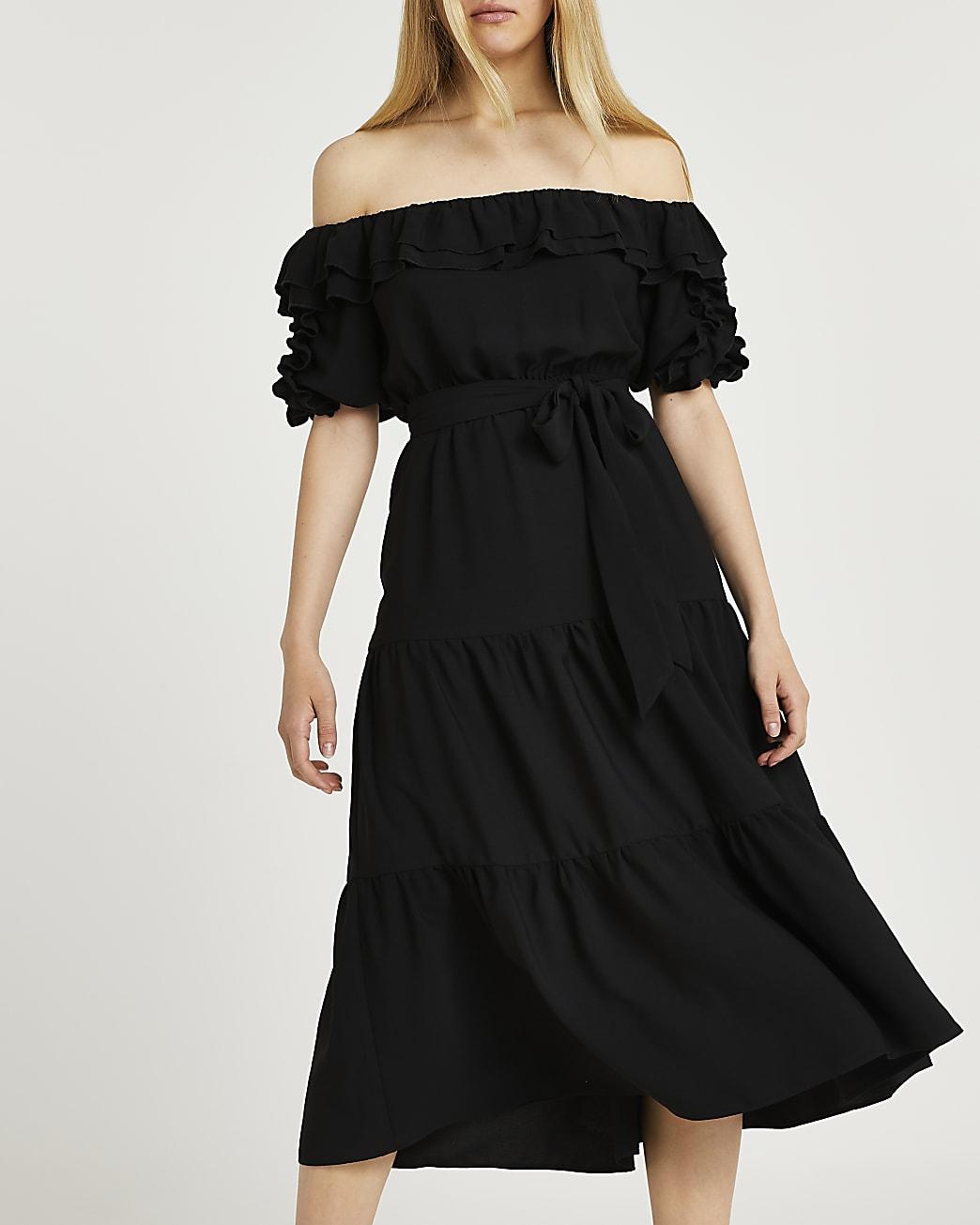 Black bardot frill hem midi dress