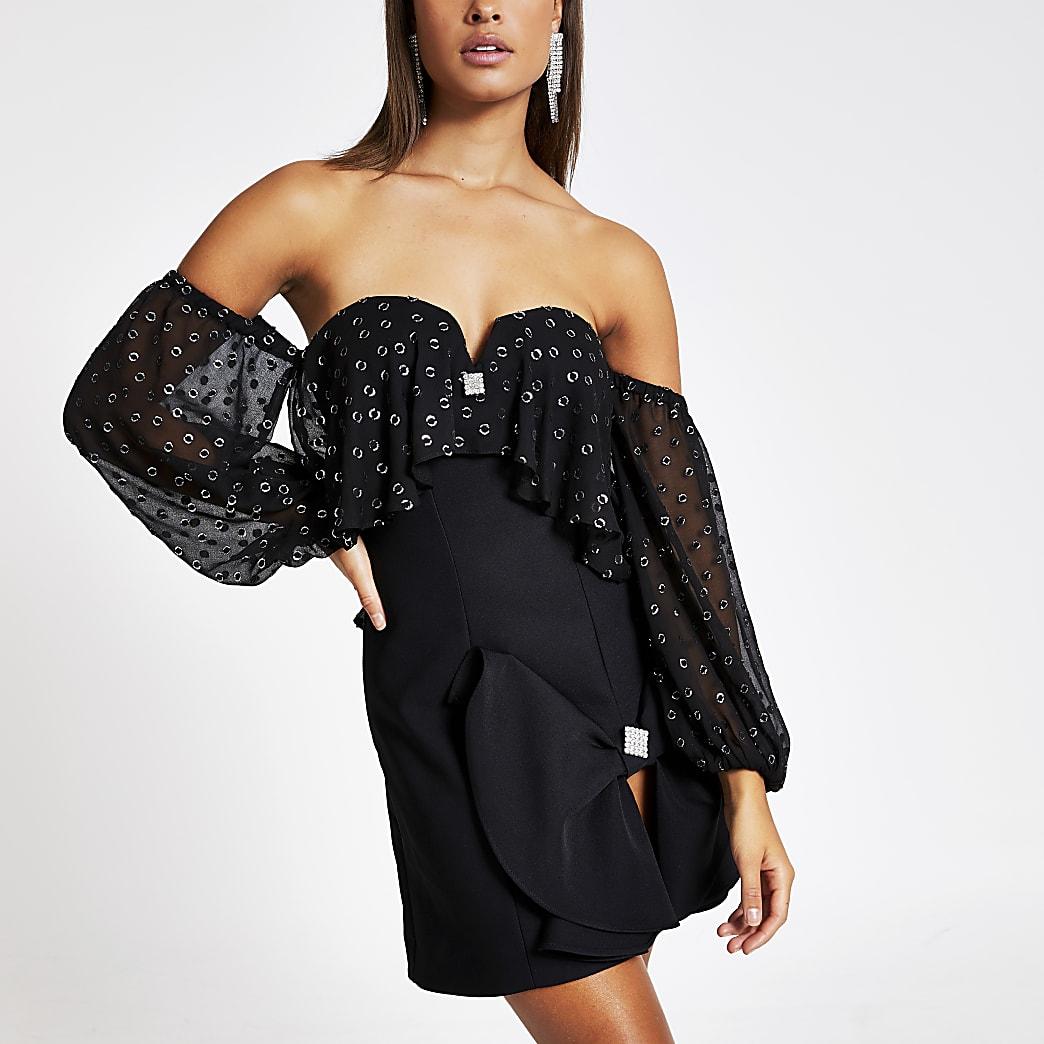 Black bardot frill long sleeve mini dress