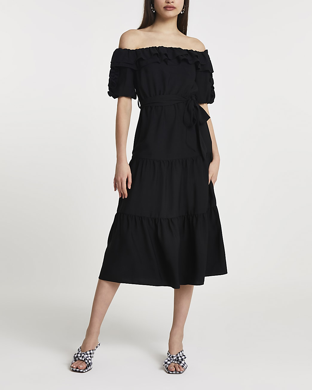 Black bardot frill midi dress