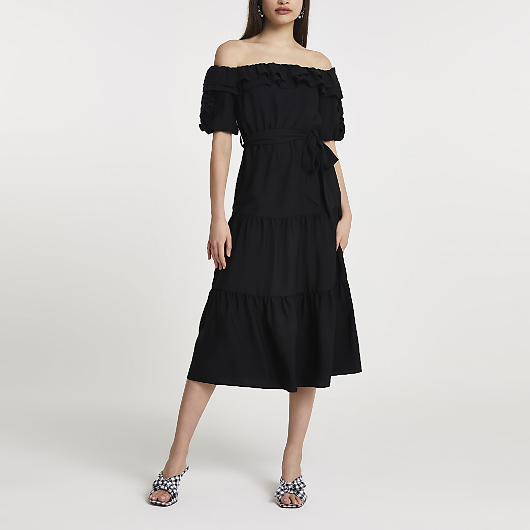 Black bardot frill midi dress
