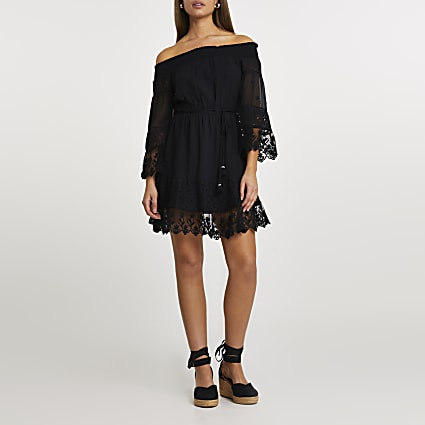 Black bardot lace dress