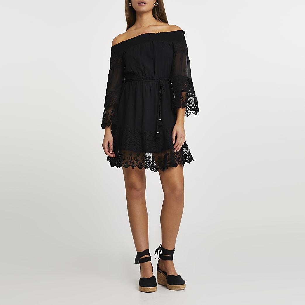 Black bardot lace dress