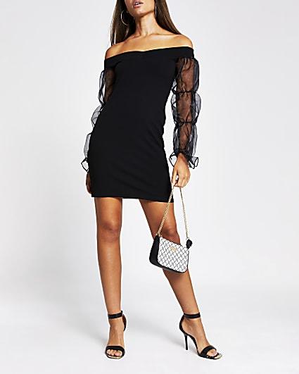 Black bardot orgnza puff sleeve bodycon dress