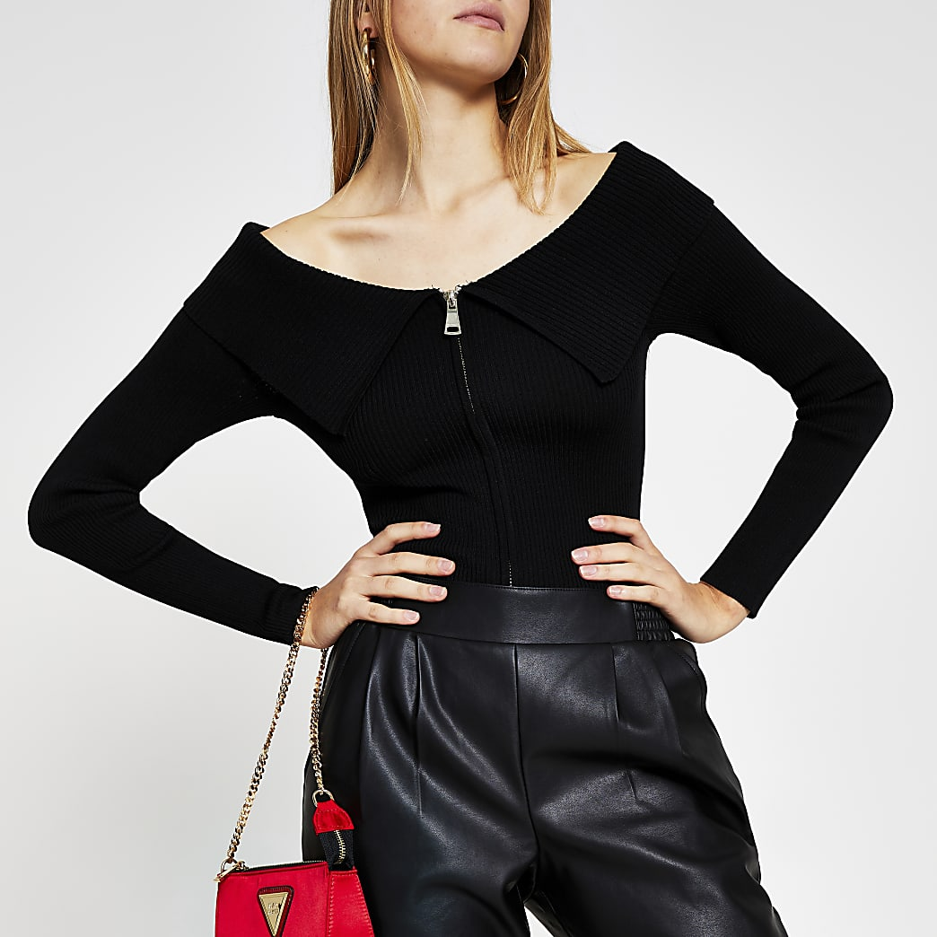 Black Bardot zip through top