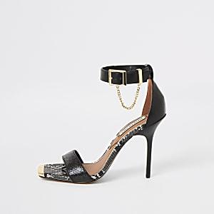 Sandales à talon noires minimalistes