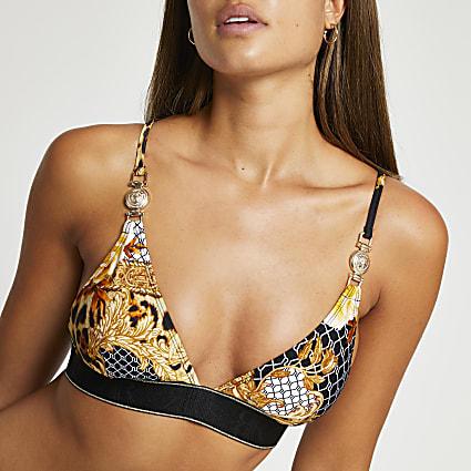 Black baroque bikini top