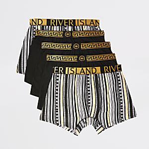 Set van 5 zwarte strakke boxers met barokprint en RI-tailleband