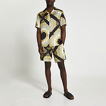 Black baroque print swim shorts