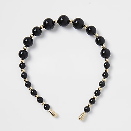 Black bead and gold ball alice band