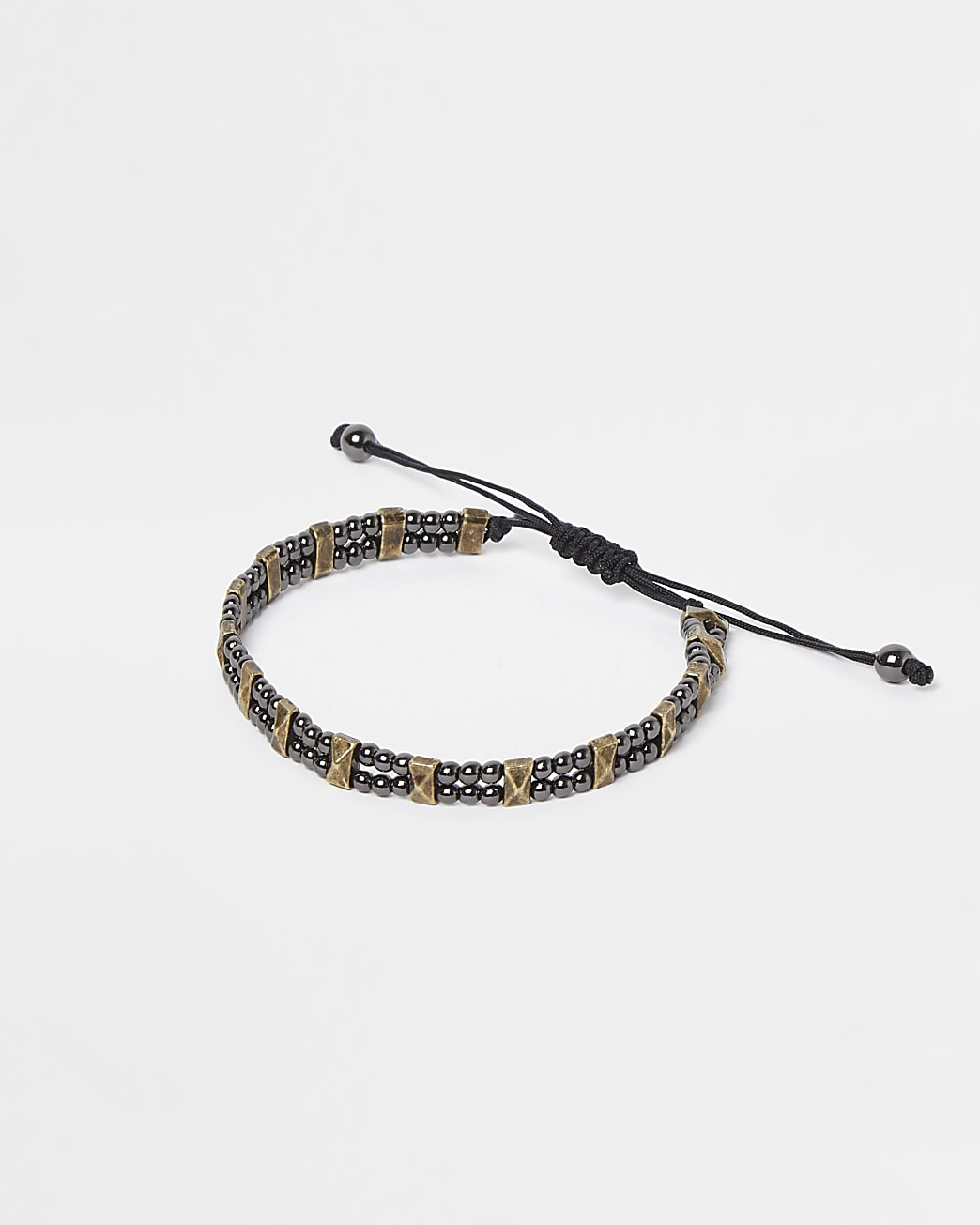 Black beaded adjustable bracelet