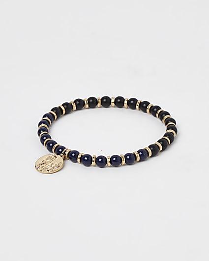 Black beaded pendant bracelet