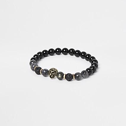 Black beaded stretch bracelet