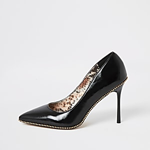 Black beaded trim high heel court shoes