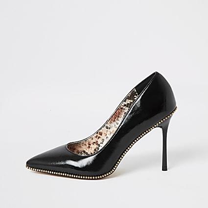 Black beaded trim high heel court shoes