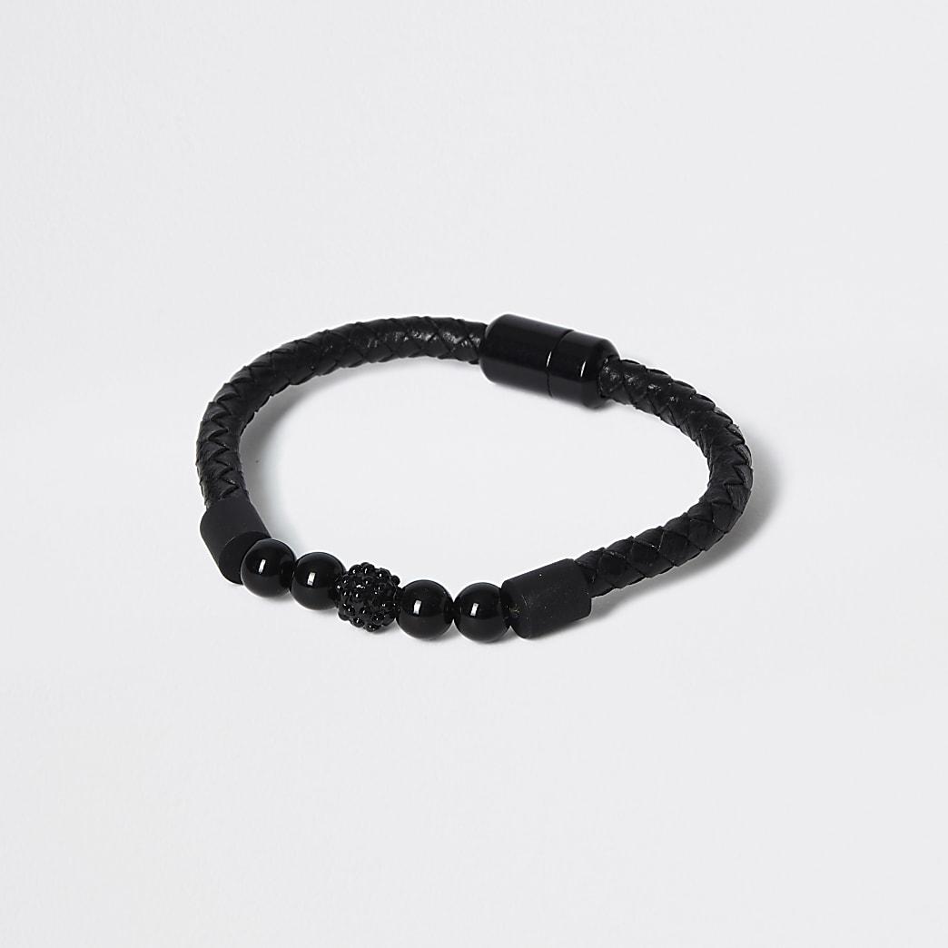 Schwarzes Armband mit Perlen