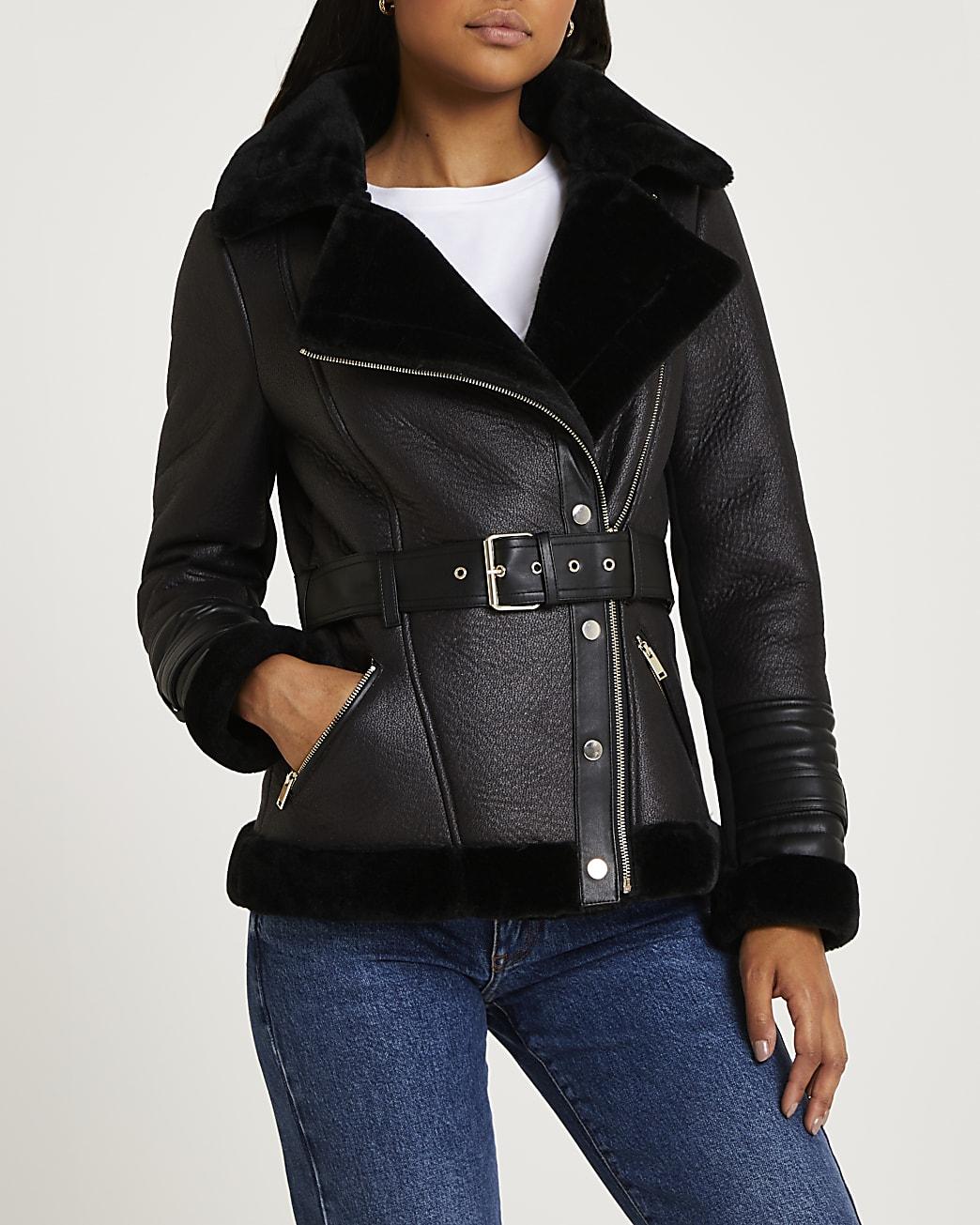 Black belted aviator coat