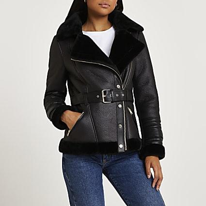 Black belted aviator jacket