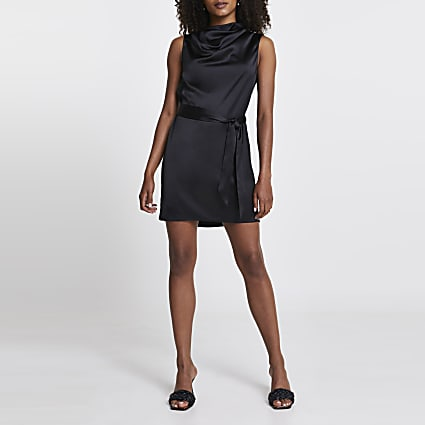 Black belted cowl neck mini dress