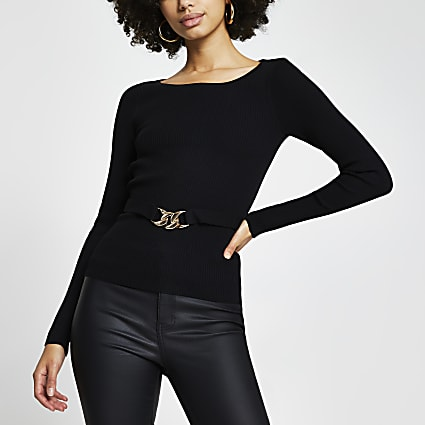 Black belted cut out back knit top