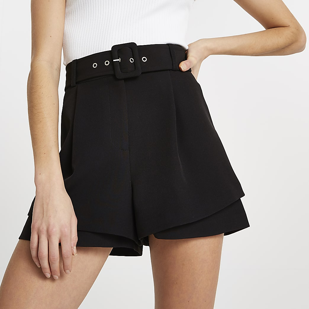 Black belted double layer shorts