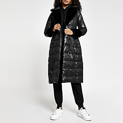 Black belted faux fur cuff padded trench coat