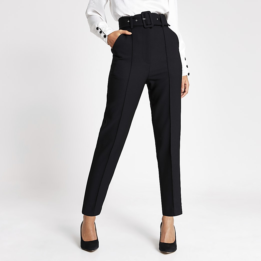 Black belted high rise peg trousers