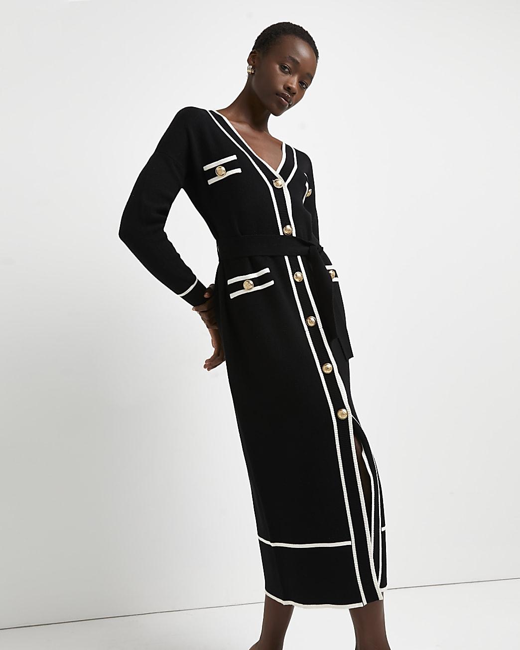 Black belted knitted shirt dress