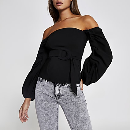 Black belted long puff sleeve bardot top