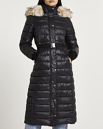 Black belted longline puffer coat