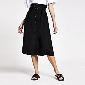 Jupe mi-longue structuréeà ceinture noire