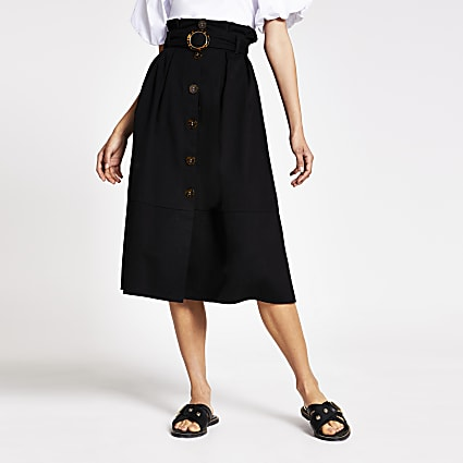 Black belted structured midi skirt