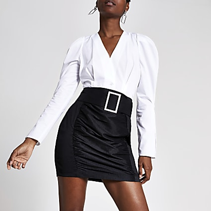 Black belted taffeta mini skirt