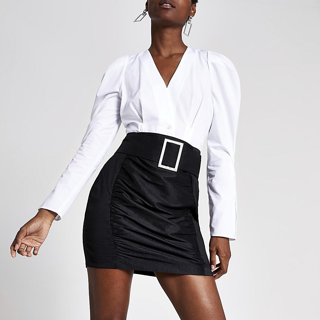 Black belted taffeta mini skirt