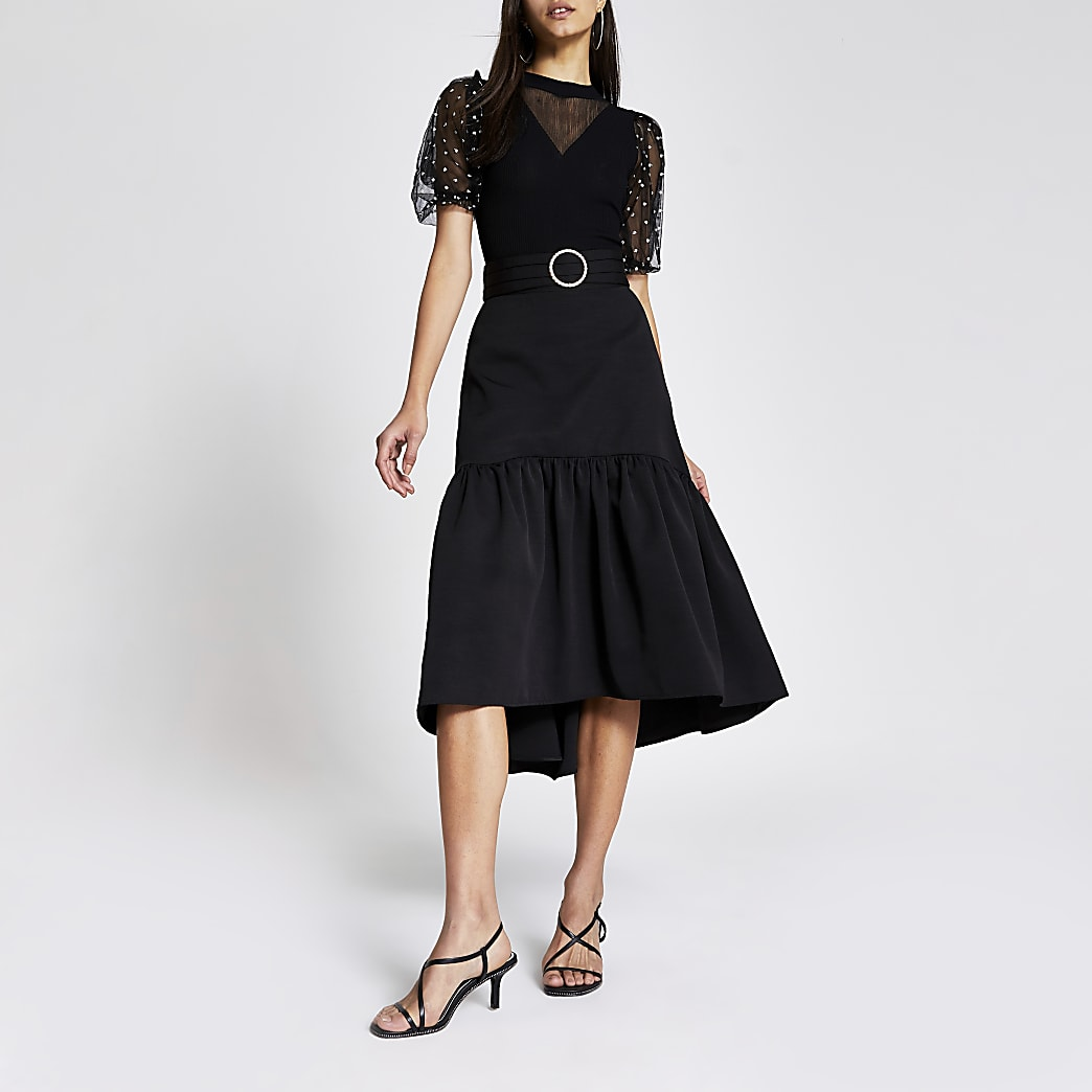 Black belted tiered midi skirt