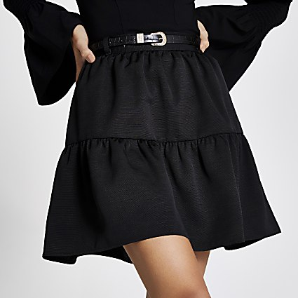 Black belted tiered mini skirt