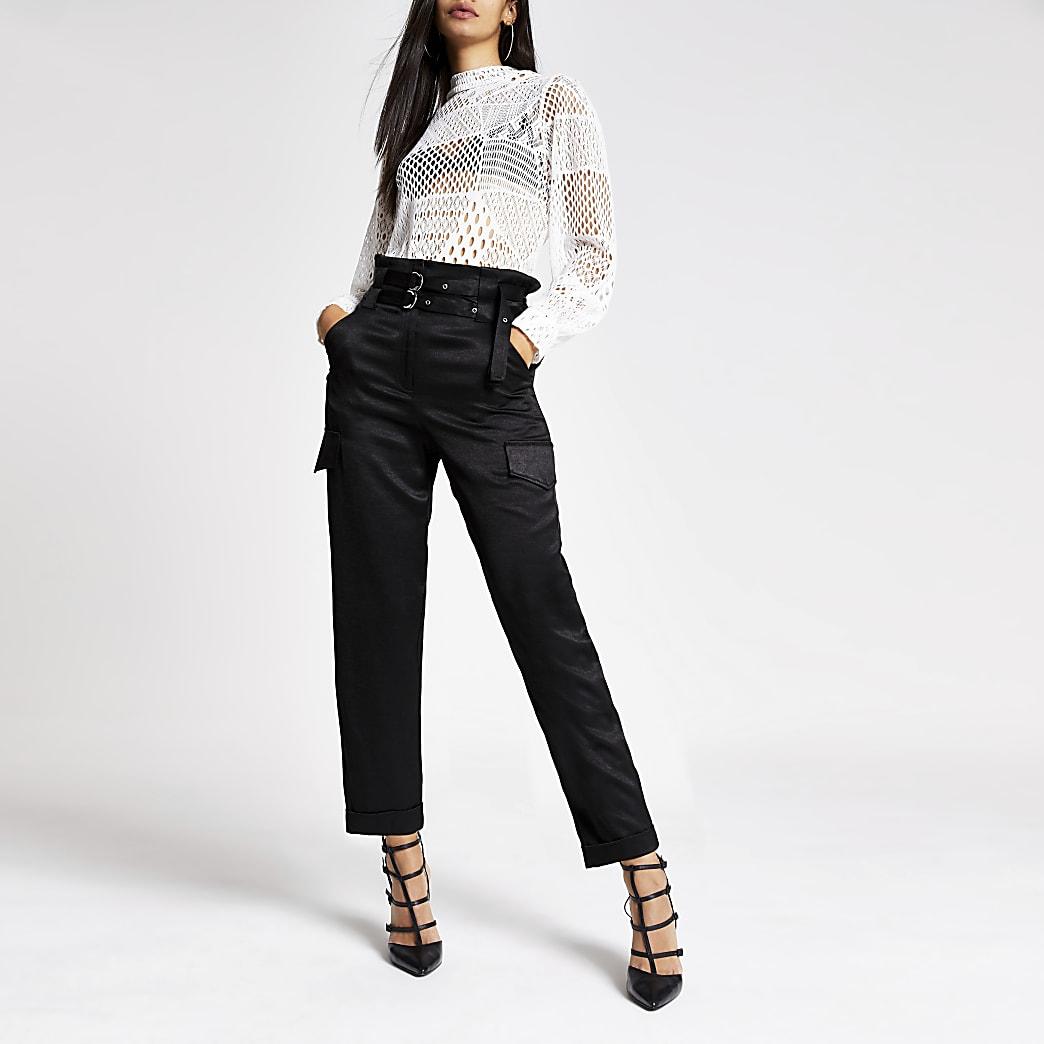 Pantalon carotte fonctionnel noir à ceinture