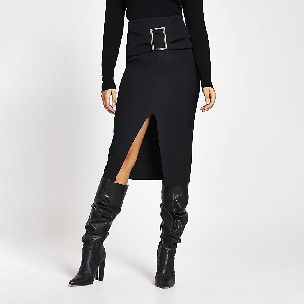 Black belted waist pencil skirt