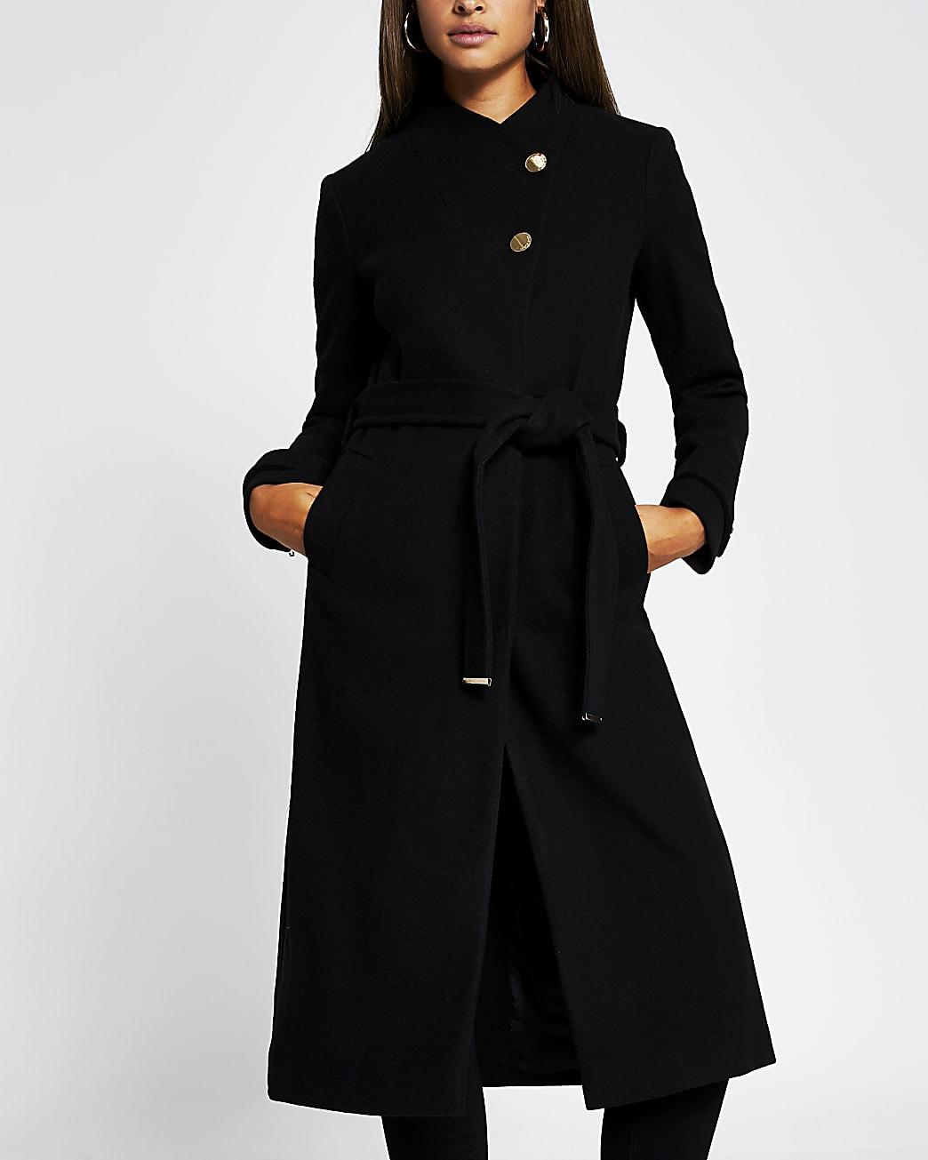 Black belted wrap coat