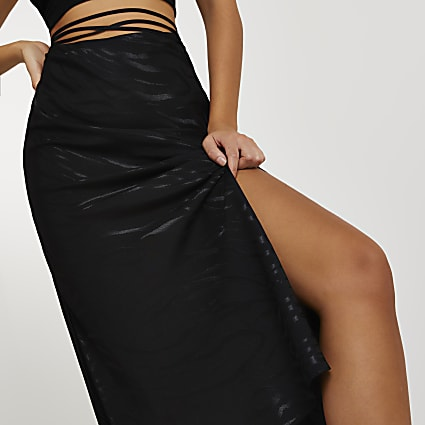 Black bias tie waist maxi skirt