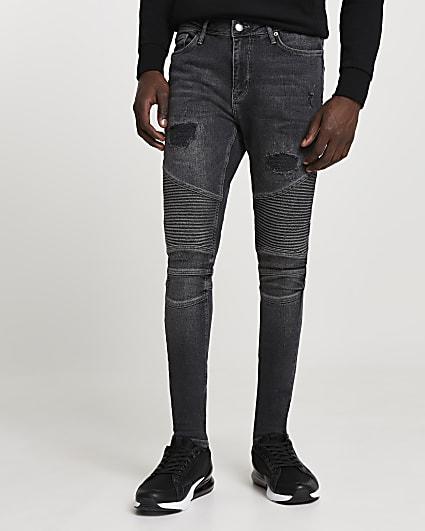 Black biker ripped spray on skinny fit jeans