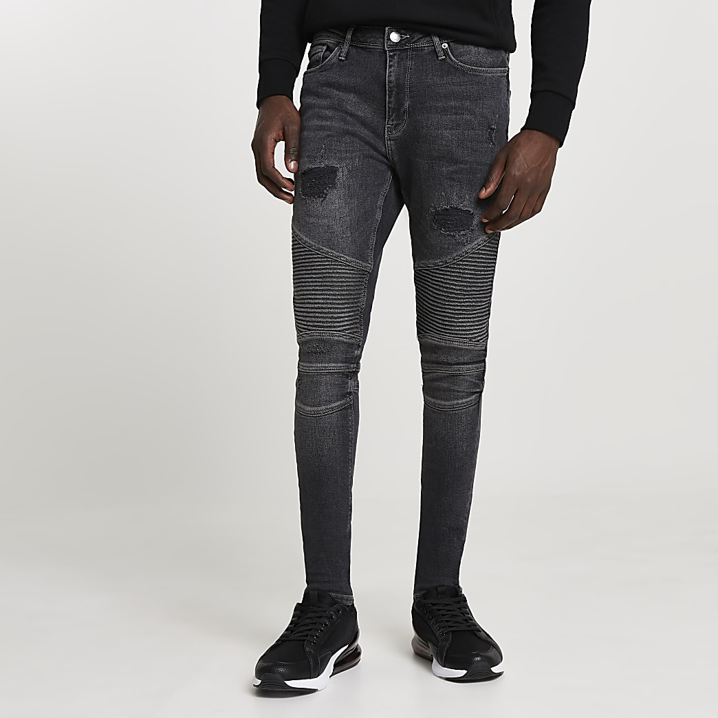 Black biker ripped spray on skinny fit jeans
